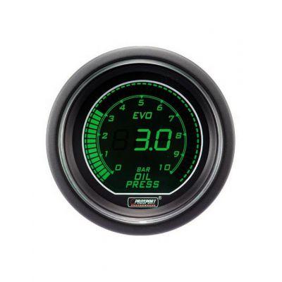 Manomètre Digital Pro-Sport Pression d'Huile 52mm 0 à 7Bar Vert/Blanc